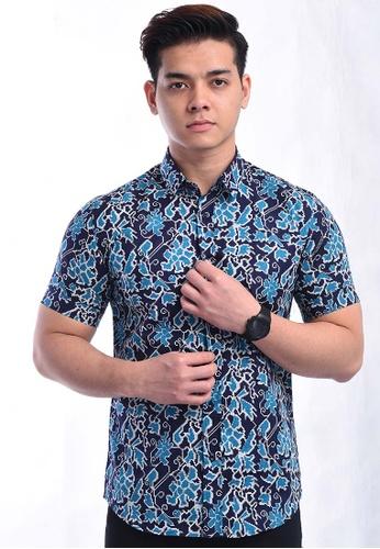 UA BOUTIQUE blue Short Sleeve Shirt Batik UASSB92-041 (Blue) FD243AA9E77472GS_1