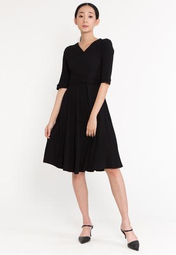 Plain B. black Plain B. Half Sleeve V Neckline Casual Flare Midi Evening Dinner Dress F031DAAF6721A0GS_1