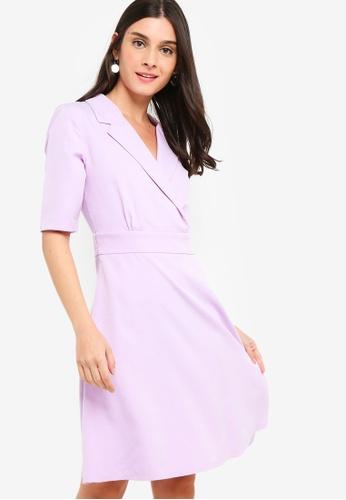ZALORA purple Blazer Collar Dress 98544AA0BEC7B9GS_1