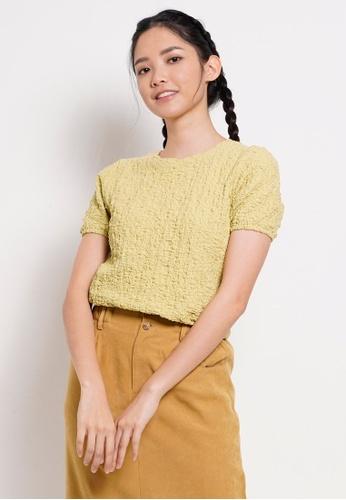 Fave yellow Women Knit Short Sleeve Blouse DE99CAA349B272GS_1