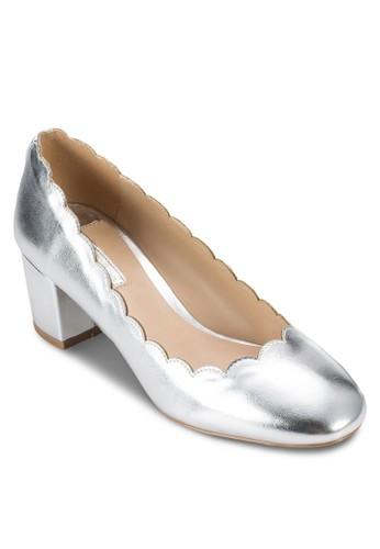 Deesprit hkstiny 亮面扇貝飾粗跟鞋, 女鞋, 鞋