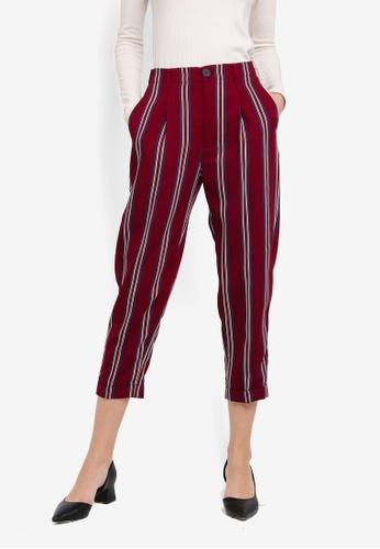 Mango red Striped Crop Trousers MA193AA0T0YMMY_1