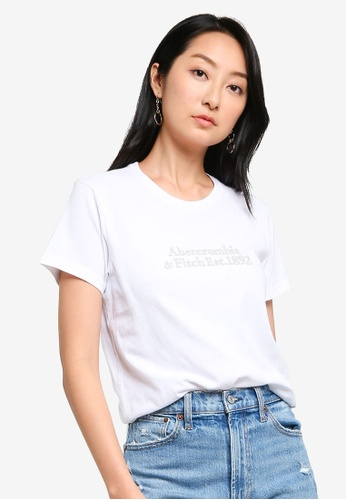 ABERCROMBIE & FITCH white Relaxed Embroidered Logo Tee 74385AA8FD5ADAGS_1