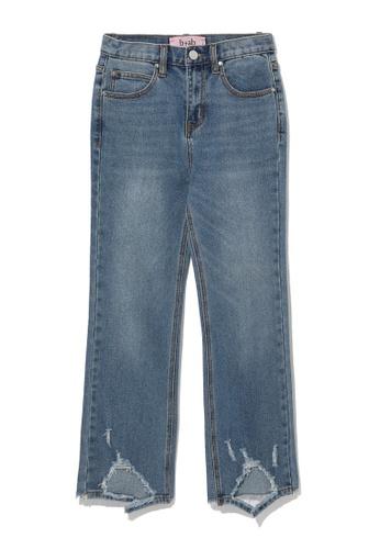b+ab blue Ripped hem jeans 725D9AAD245752GS_1