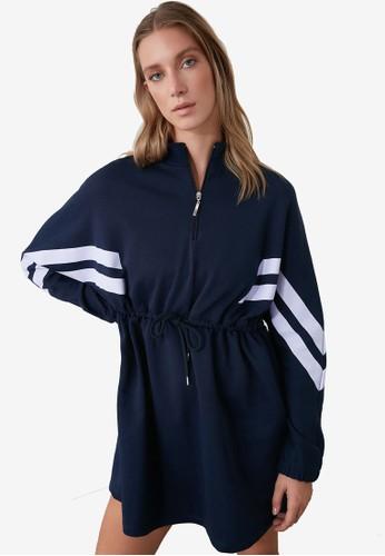 Trendyol navy Varsity Stripe Tie Waist Sweater Dress 83FFDAA28DE0ECGS_1