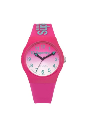 Superdry pink Superdry SYL198PN Pink Rubber Watch B7D13AC822B3DCGS_1