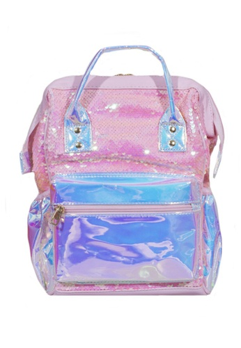 Adkidz pink Adkidz Holographic and Sequin Backpack 87DB4KCCEE9BB2GS_1
