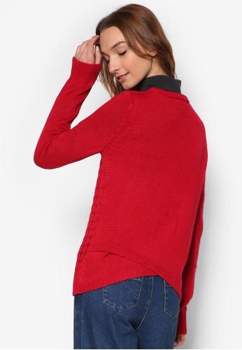 背部裹飾纜織暗紋羊毛長袖衫, 服esprit taiwan飾, 服飾