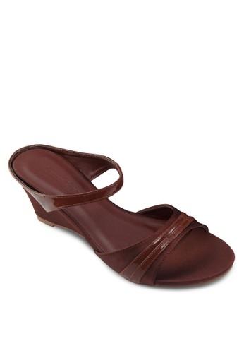 雙帶楔型zalora 心得 ptt跟涼鞋, 女鞋, 楔形涼鞋