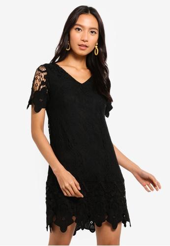 Mela London black V-Neck Border Lace Dress 6CB38AA6B46BF1GS_1