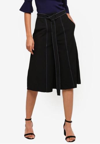 Hopeshow black High Waist Knee Length Capri Pants 6662EAAAB47326GS_1