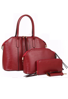 f82b39ce33 LULUGIFT red Lulugift European 4n1 Luxury PU Leather Hand Bag Red Color  LU989AC20QMHMY 1