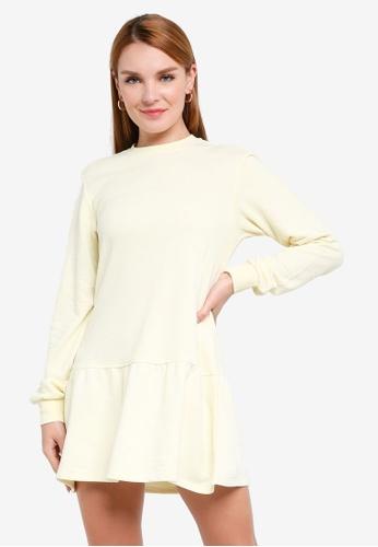 H&M yellow Sweatshirt Dress 7EDBFAA2A43C3BGS_1