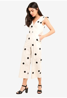 aed49cd77c25 Miss Selfridge Cream Tie Back Frill Sleeve Polka Dot Jumpsuit RM 329.00.  Sizes 6 8 10 12 14
