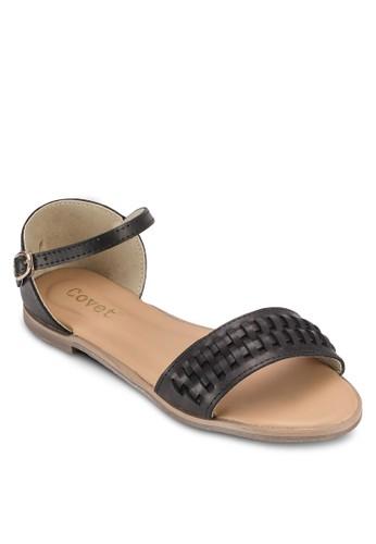 編織暗紋平底涼鞋, 女鞋, zalora 泳衣涼鞋