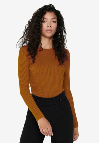 ONLY brown Natalia Long Sleeve Rib Pullover 0A221AA3C91AB6GS_1