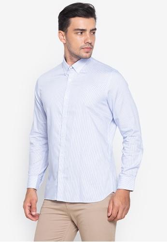 Wharton blue Casual Button Down Long Sleeves Shirt 86B7CAA7238529GS_1