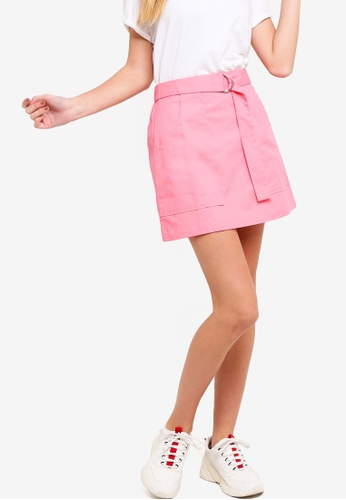 Something Borrowed pink Belted Utility A-Line Skirt AE704AA14C6DCAGS_1