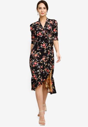 Hopeshow black Floral Asymmetrical Hem Wrap Midi Dress 5CA3BAA7A4B500GS_1