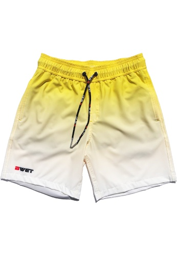 """BWET Swimwear yellow Eco-Friendly Quick dry UV protection Perfect fit Yellow Beach Shorts """"Sunrise"""" Side and Back pockets FC5A5USB9AD650GS_1"""