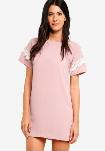 ZALORA pink Shift Dress With Lace Trim 35931AA50AFCB5GS_1