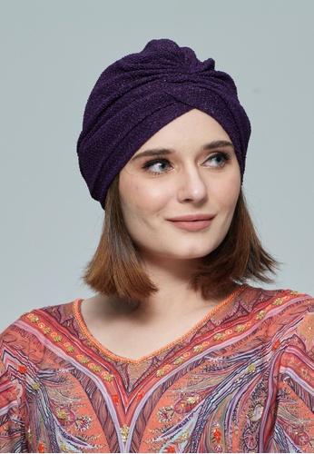 KASHKHA purple Jersey,Easy To Style Turban E4CFBAA7CD643EGS_1