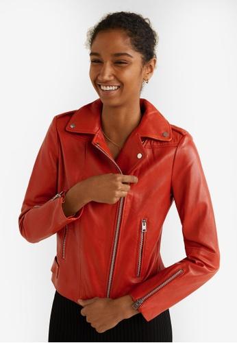 Mango red Zipper Leather Biker Jacket 5BA81AA1E9ACA2GS_1