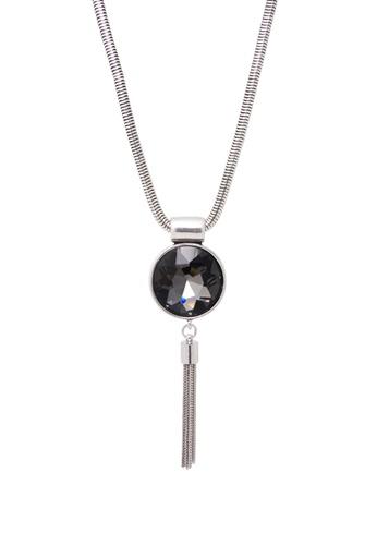 Jaysa Collection white Chic Dark Rhinestone Pendant Necklace With Silver Tassel JA875AC0F6GGSG_1