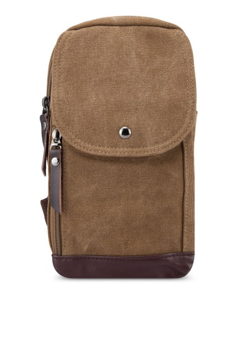 Fidelio brown Button Down Chest Pack FI826AC03NTSMY_1