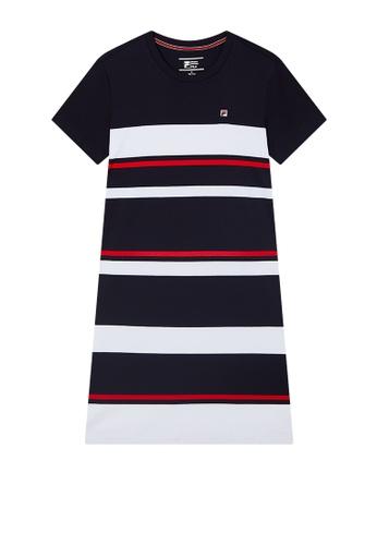 FILA navy Embroidered F-box Logo Color Blocks Cotton Dress EFD51AA02EE0ADGS_1