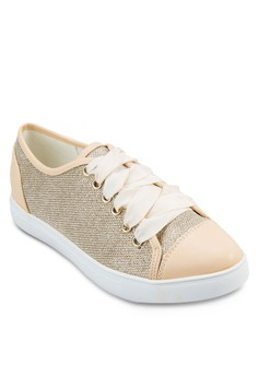 Glitter Mesh Lace Up Trainers