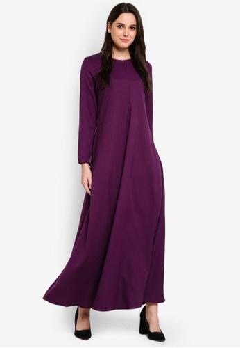 BYN purple Modern Jubah 35883AA8AF666CGS_1