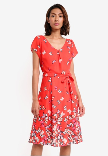 Dorothy Perkins red Billie & Blossom Red Butterfly Print Dress 583F4AA5F74C2EGS_1
