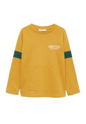 MANGO KIDS yellow Long-Sleeved T-Shirt With Pocket 051DDKA8253ACCGS_1