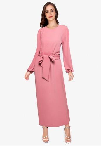 ZALORA WORK pink Puff Sleeve Belted Dress B5A72AA050C2ECGS_1