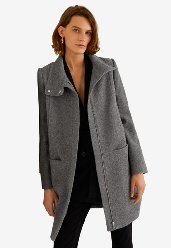 Mango grey Wool Funnel Neck Coat 23EFDAA3870630GS_1