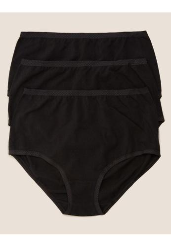 MARKS & SPENCER black M&S 3 Pack Cotton Jacquard Waist Full Briefs 4C927US1E0B9C9GS_1