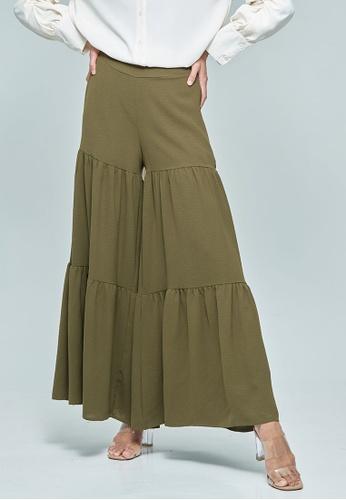 MC Vogue green Olive Green Wide Tiered Pants 3652CAAF7D0DA6GS_1