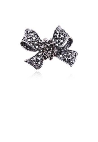 Glamorousky black Fashion Bright Black Ribbon Brooch with Cubic Zirconia 70F0BAC883C060GS_1