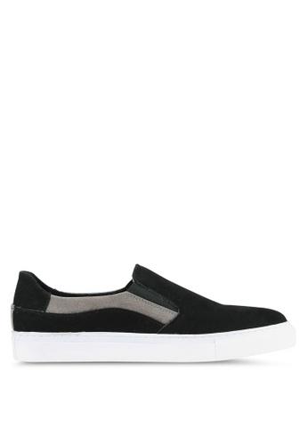 JAXON black Faux Suede Leather Colour Block Slip Ons 2B029SH99A99DAGS_1