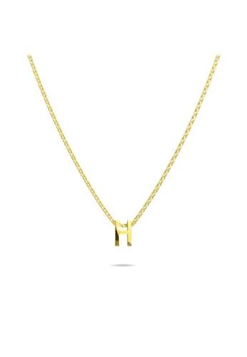 Bullion Gold gold BULLION GOLD Initials Brick Alphabet Letter Necklace Gold Layered Steel Jewellery  - H 84718AC1E46BC9GS_1