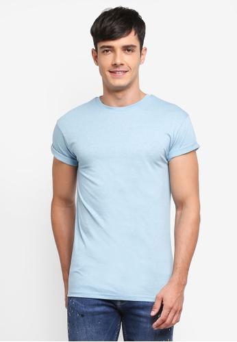 Topman blue Muscle Fit Salt And Pepper T-Shirt 3B9A3AAE97ECBBGS_1