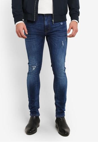 Burton Menswear London 藍色 深藍色 Distress Tyler Super 緊身 牛仔褲 BU964AA0RZGLMY_1