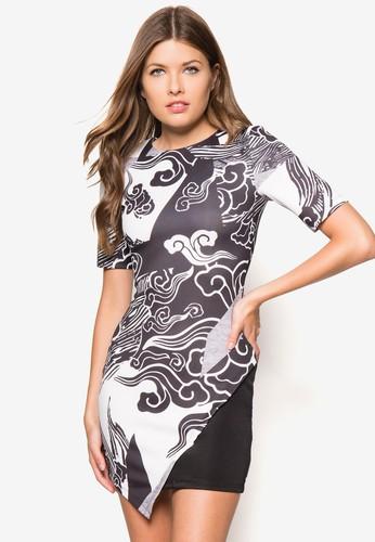 印花裹飾修身洋裝, 服飾, 緊身zalora 衣服尺寸洋裝