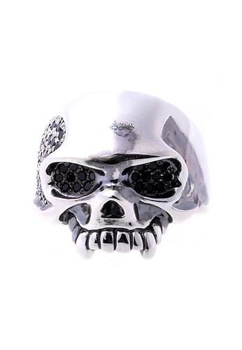 The LoveMark silver ReCreate Skull Edition Ring Black CZ TH516AC57PPAPH_1