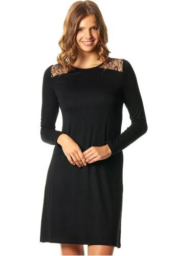Daesprit hkndelion 蕾絲拼接長袖連身裙, 服飾, 睡衣, 睡裙和連身內衣
