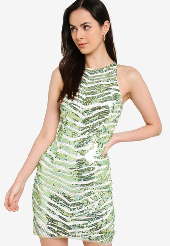 French Connection green Fahretha Embellished Bodycon Dress 21D46AAC210797GS_1