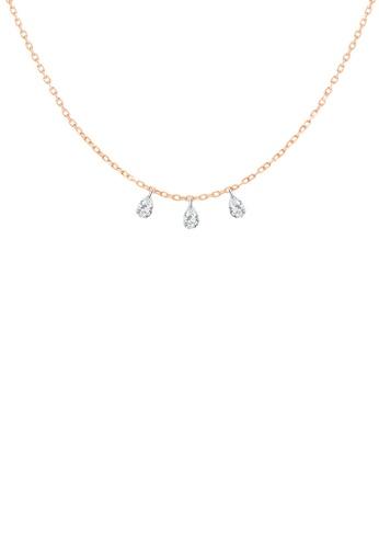 Khoe 粉紅色 Khoe 18K玫瑰金梨形鑽石吊咀頸鏈 4393FACCF08F2FGS_1