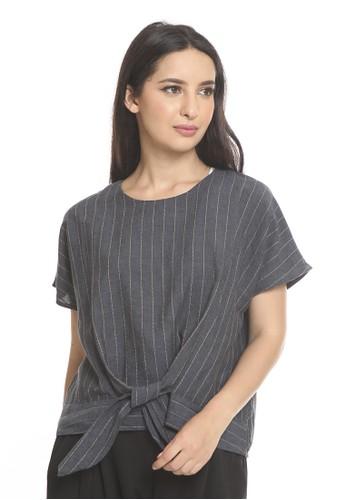 et cetera blue Yarn dyed linen blend blouse BD151AAFE989CEGS_1