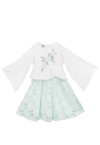 FIYORA green Annisa Cotton Girl Dress Moslem Hijab set 1DA71KA949E087GS_1